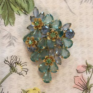 Jewelry - Gorgeous vintage large blue green vintage pin